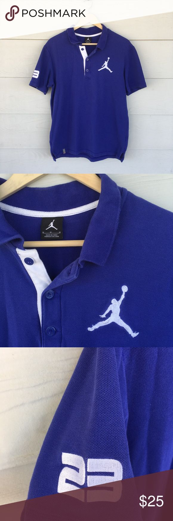 Michael Jordan Blue Polo Shirt This awesome Michael Jordan shirt is a size M, hardly worn polo. Has the air Jordan on the left chest, with the number 23 on the right sleeve. Really a cool shirt. Jordan Shirts Polos