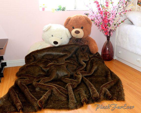 Large Comforter Brown Bear Mink Faux Fur 60 X 48 By PlushFurever, $119.00  Visit Our