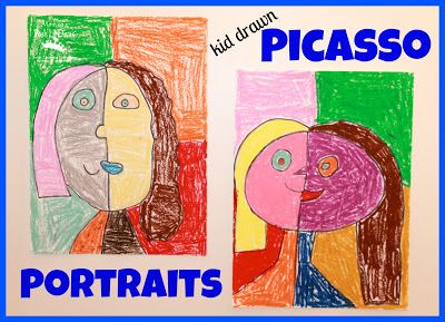 (kid drawn) Picasso Style Self Portraits - a fun and easy art activity for children to explore a famous artist (+ links to lots more projects exploring famous artists)