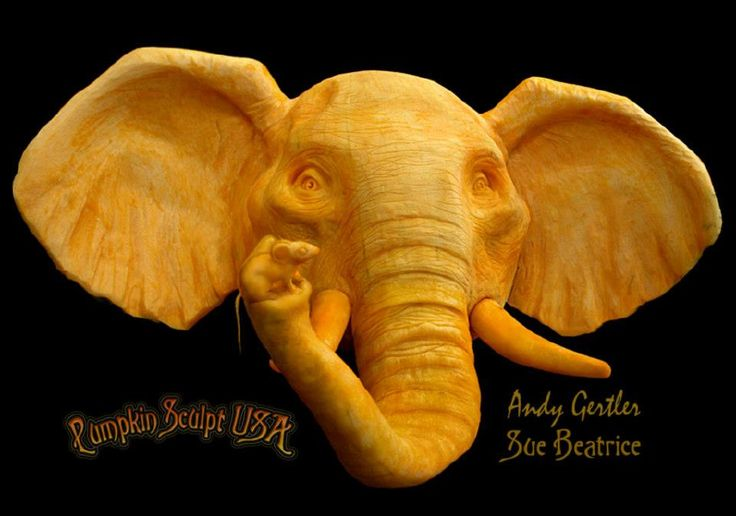 Stunning and Delightful Pumpkin Carvings by Pumpkin Sculpt USA - Elephant and Little Friend
