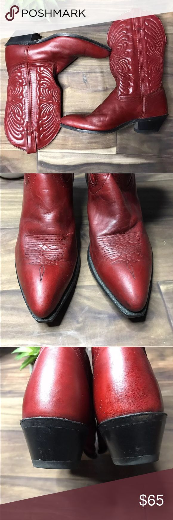Red Laredo cowboy boots 9.5 M For sale is a good condition used pair of women's Laredo cowboy boots.  Size 9.5 M  Red in color with stitching accents throughout  The leather shaft has a fabric lining for added comfort  Rubber soles for durability  Please look at all pictures for details Laredo Shoes Ankle Boots & Booties