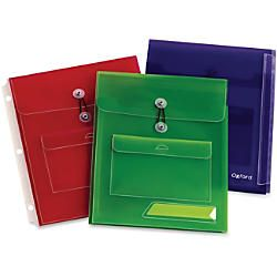 Oxford Poly Pocket Binder Envelopes 150 Sheet Capacity Poly Assorted 3  Pack by Office Depot & OfficeMax