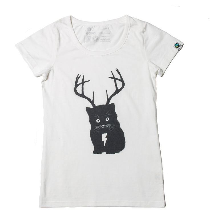 Organic Fairtrade Cat T-Shirt White - Etiko Shop