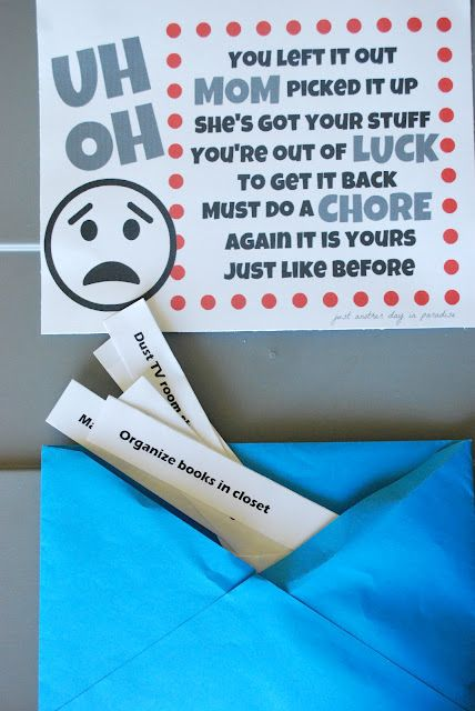 Kids' chore box for when mom picks up their stuff.~ Great Idea
