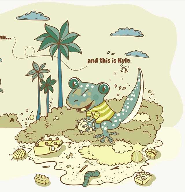 My recent gecko illustration for a picture book about two gecko brothers.