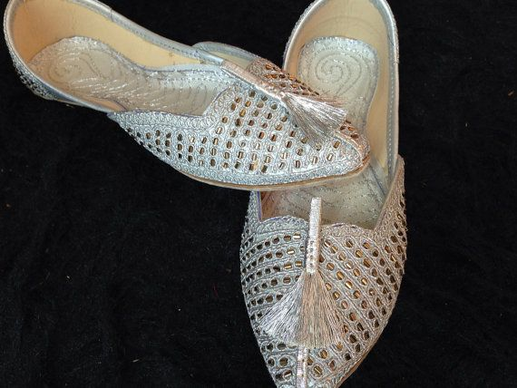 Silver Bridal shoes wedding shoes Flat beaded by SamiModernStyles