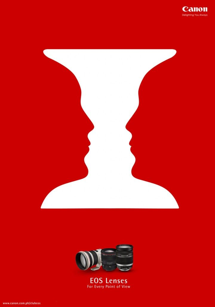 Negative space in advertising Canon EOS LEnses