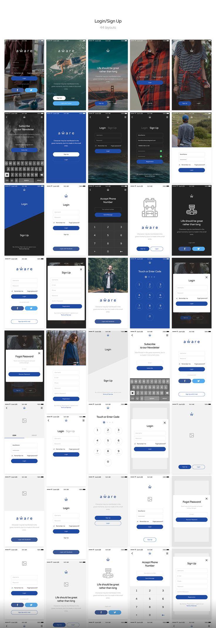 Aware Mobile UI/UX Kit-290+ Layouts by KK UI Store on @creativemarket