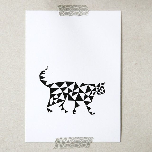 card triangular cat 13x18 cm  posters and prints