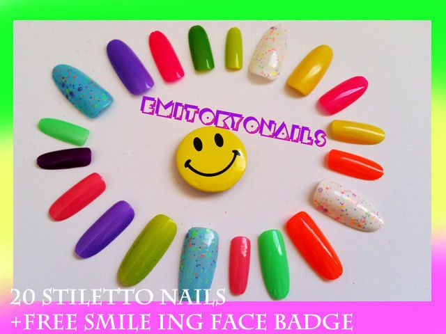 20 Stiletto Nails ,Press on Nails,Hand Painted Nails,UV Gel +FREE smiling badge