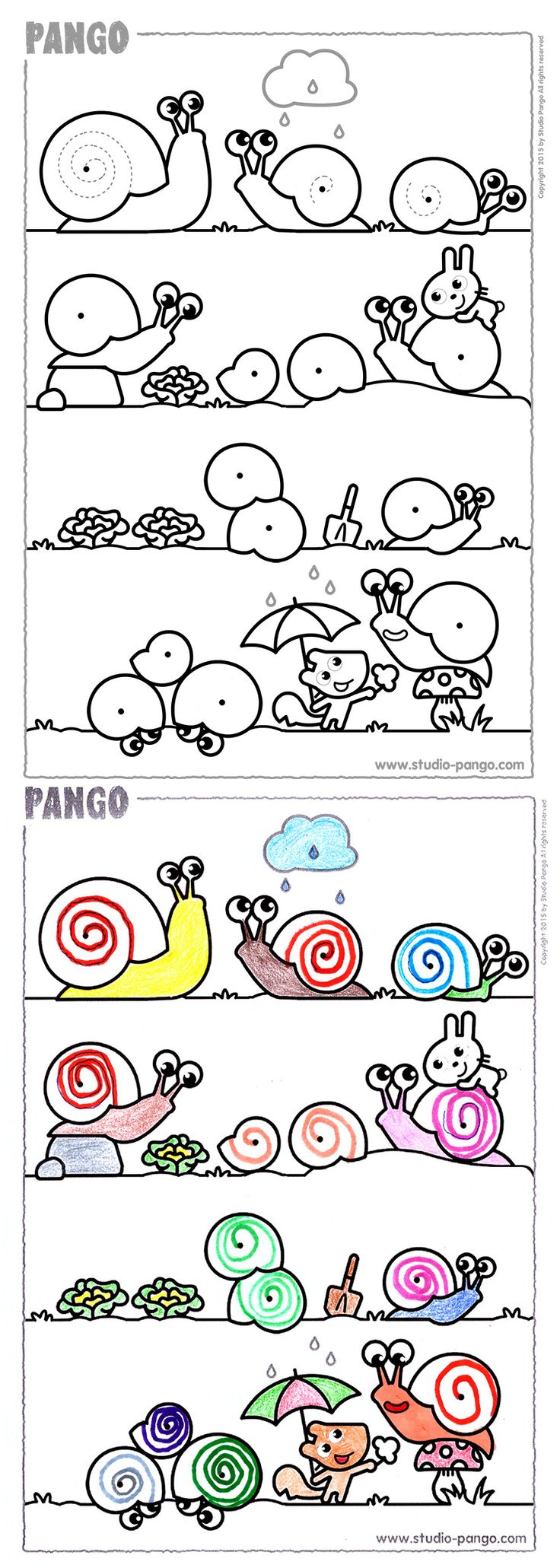 Garden drawing pictures - Snails In The Garden Drawing Coloring Spirals