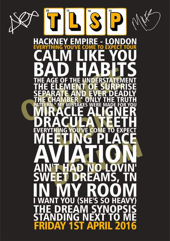 The Last Shadow Puppets Tour Poster - 2016 - Gig Souvenir Poster. The Last…