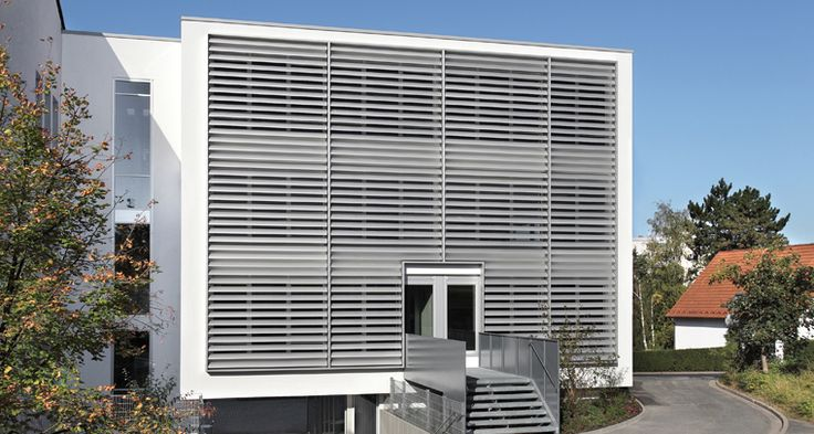 Statliche Realschule für Knaben, Neumarkt Germany.  Aerofoil #Louvers by #Hunter Douglas Contract. #architecture #school