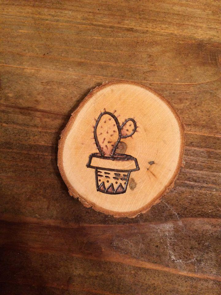 wood-burned cactus magnet by Waniwoodburning on Etsy https://www.etsy.com/listing/483572127/wood-burned-cactus-magnet