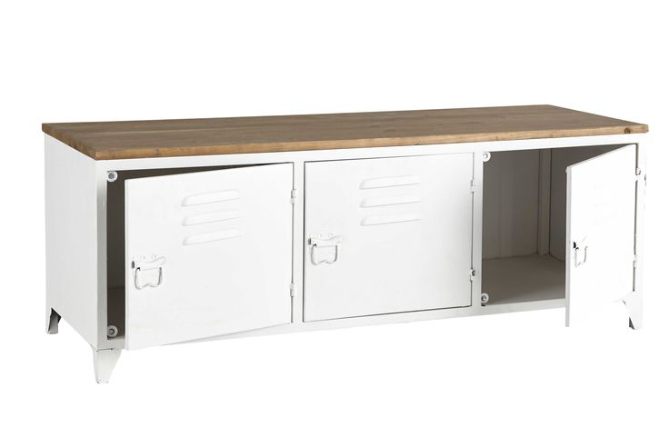 Metal TV unit in white W 118cm Bruce