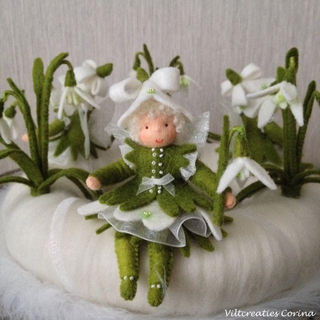 Viltcreaties Corina: Nieuw lente patroon, de Sneeuwklokjes krans!