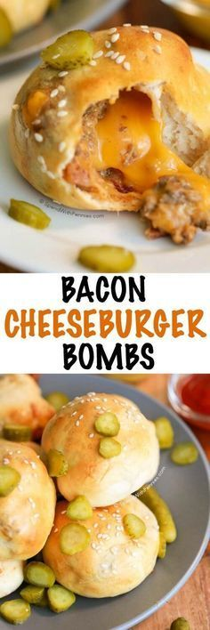Bacon Cheeseburger Bombs! ♥ A warm sesame crust filled with an amazing cheeseburger filling and loaded up with gooey cheese!