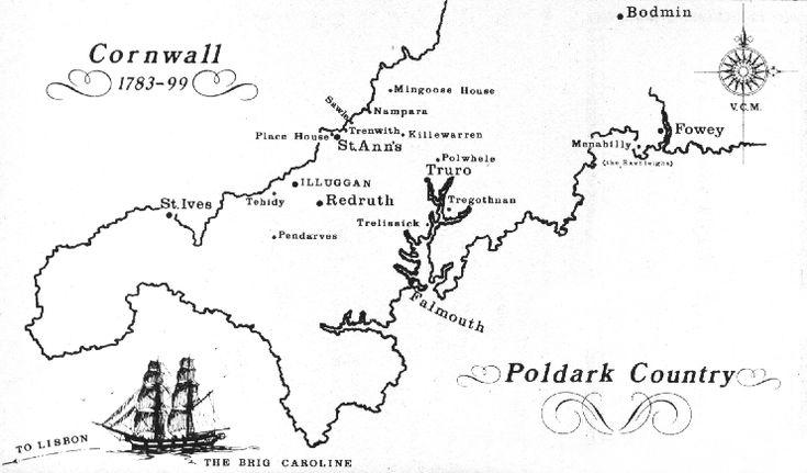 Poldark's Cornwall: map created by author Winston Graham