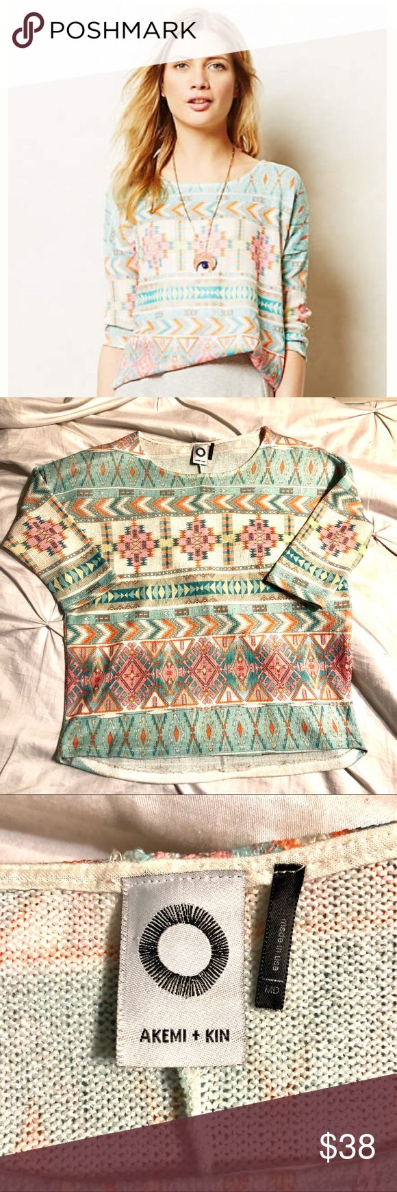 Anthropologie Akemi + Kin Morgana Pullover Sweater Anthropologie Akemi + Kin Morgana Pullover Sweater. Size Medium. Lightweight 3/4 sleeve tribal print Sweater. Great condition with one tiny pull on back shoulder. Anthropologie Sweaters