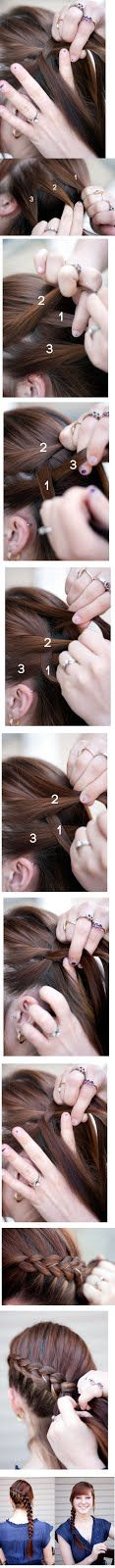 French braid how to - love the close-up detail on this one! Just want it flipped sides...