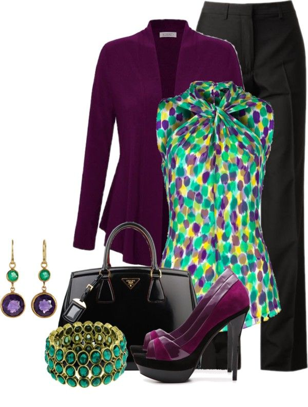 """Emerald & Amethyst"" by brendariley-1 on Polyvore"