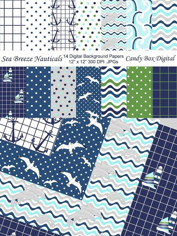 Sea Breeze Nautical Background Paper. Patterns. $7.00