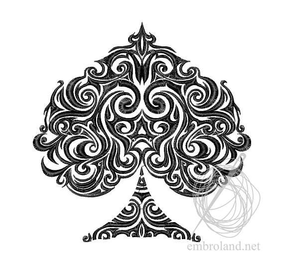 Spades Tattoo Machine Embroidery Design Instant Download