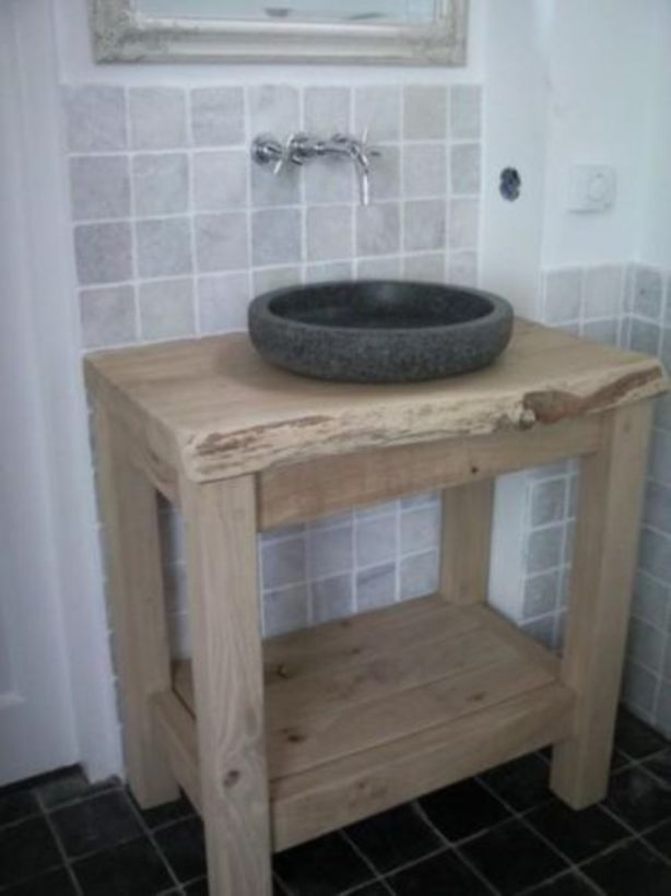 Boomstam wastafel met granieten wasbak  FreerkPetra badkamer inspiratie  P # Aparte Wasbak_124715