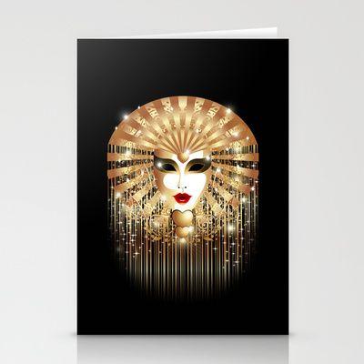 Golden Venice Carnival Mask  Stationery Cards