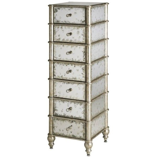 Antiqued Mirrored Tall Chest found on Polyvore