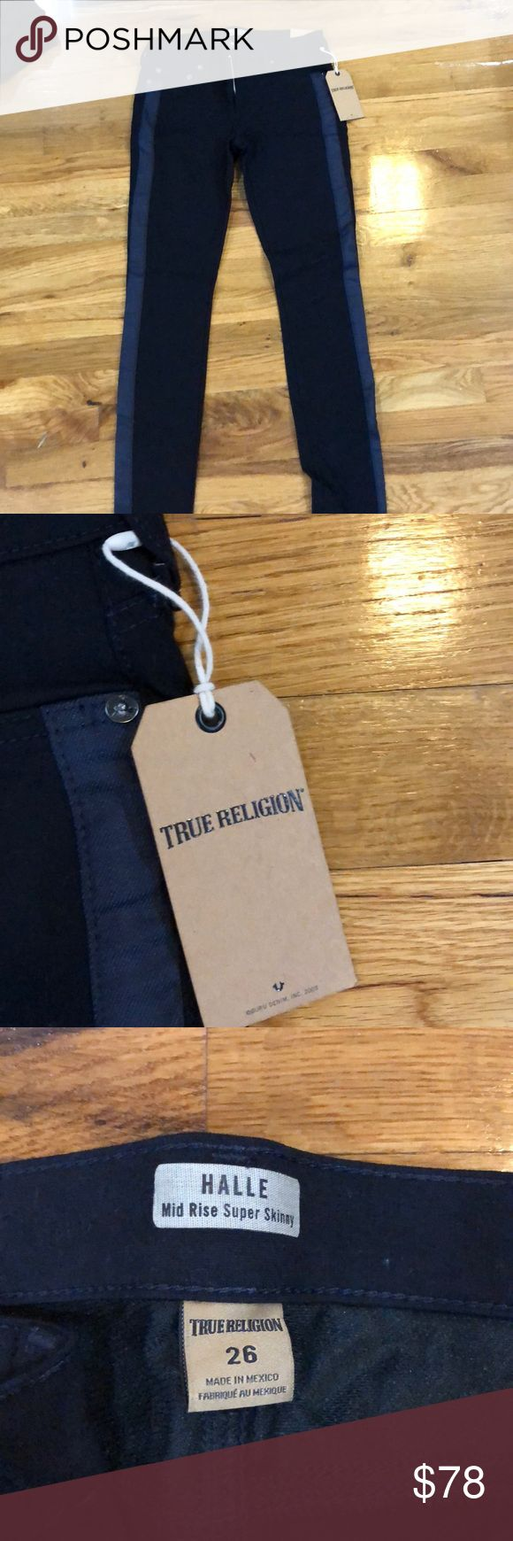 True Religion jeans Black with a grey stripe. True Religion jeans True Religion Jeans Skinny