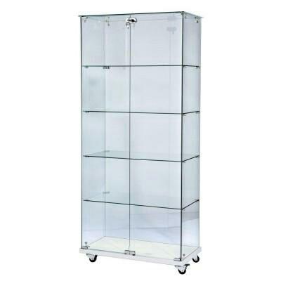 200€negociables Gijón 80*1,79*40cm vitrina de cristal con 3 cierres de seguridad con llave, ruedas para poder moverla   y 4 baldas interiores. Ideal para exposición de productos, coleccionistas,....