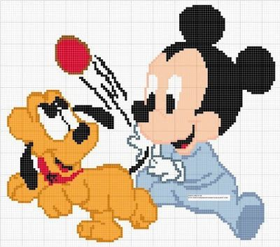 Mickey and Pluto cross stitch