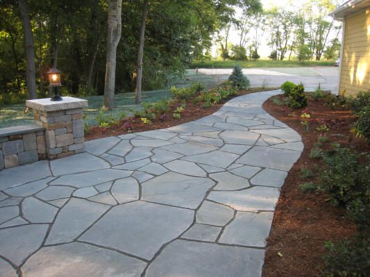 A Stunning Random Pattern Blue Select Bluestone Walkway