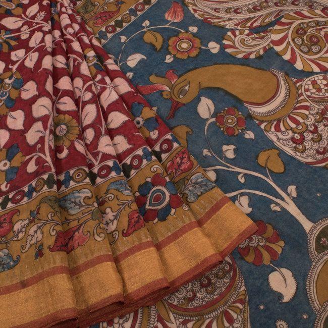 Buy online Hand Painted Pen Kalamkari Cotton Saree With Peacock & Floral Motifs 10009416
