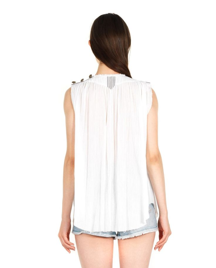 AMEN COTTON-CREPE TOP S/S 2016 White cotton-crepe top V-neck sleeveless  jewel buttons on the shoulder concealed front closure with hooks 100% CO Inserts: 60% PE 28% PL 10% VI 2% PA