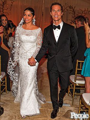 Camilla Alves in custom dress by Brazilian designer Ducarmo Castelo Branco, a 78-year-old family friend, for wedding to Matthew McConaughey ~ June 9, 2012