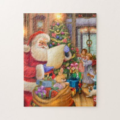 Cute vintage Holiday Jig saw for kids Jigsaw Puzzle - kids kid child gift idea diy personalize design