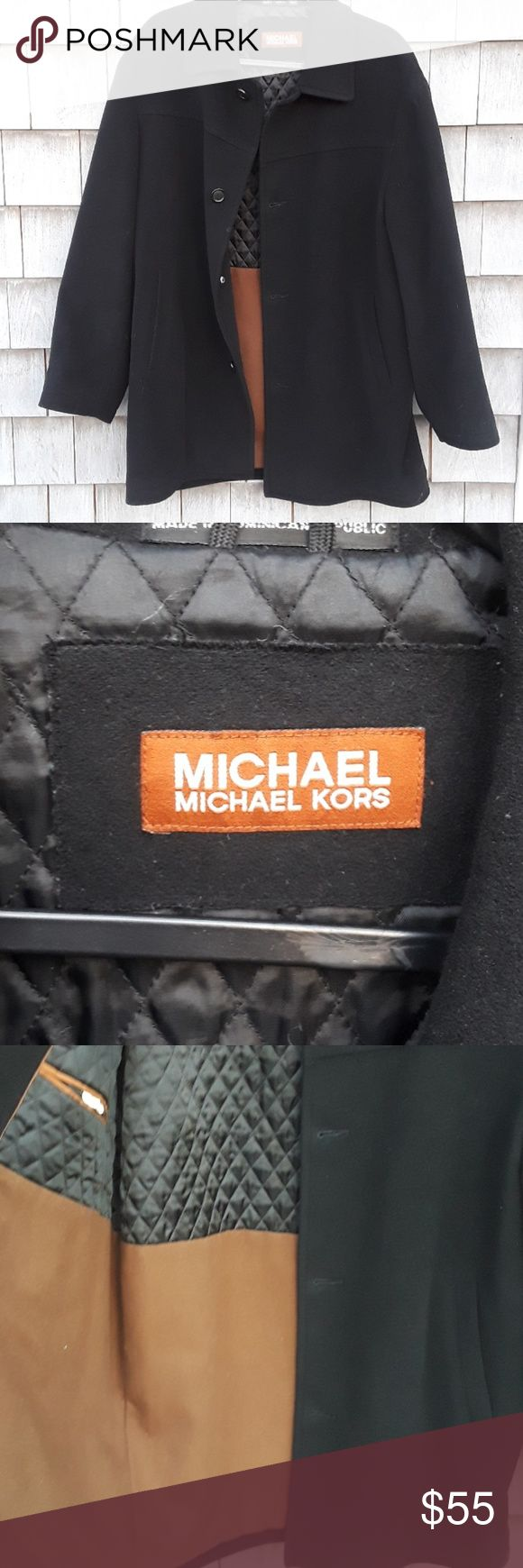 Michael Kors wool coat. G gorgeous men's dress coat can be worn formally or casually. In excellent condition bought my husband a new dress code for the holidays selling this one. Quilted satin lining inside super warm no rips or stains smoke-free home Michael Kors Jackets & Coats Pea Coats