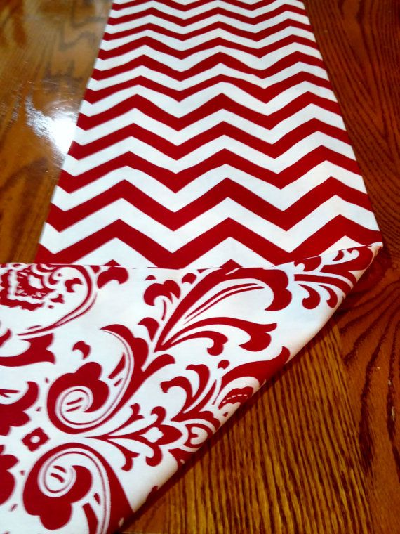 Reversible Christmas Table Runner Red and White by decorate23, $19.50