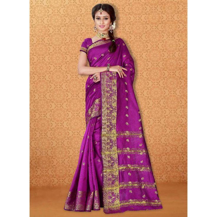 Banarasi Silk Purple Color Party Wear Saree