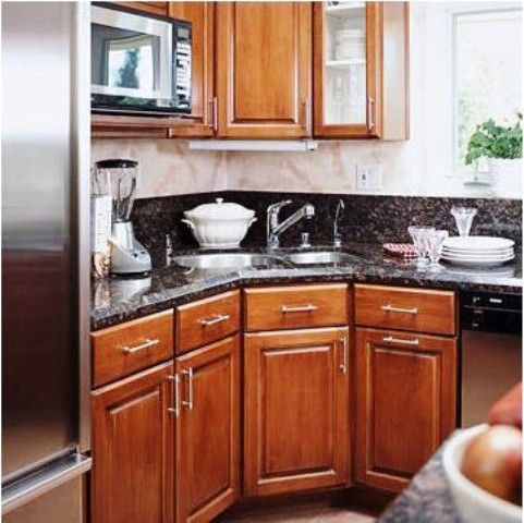 Light Up Your Corner Sink & Cabinets, microwave Install task lighting  underneath upper cabinets above a corner sink. Having the dishwasher within  reach ...