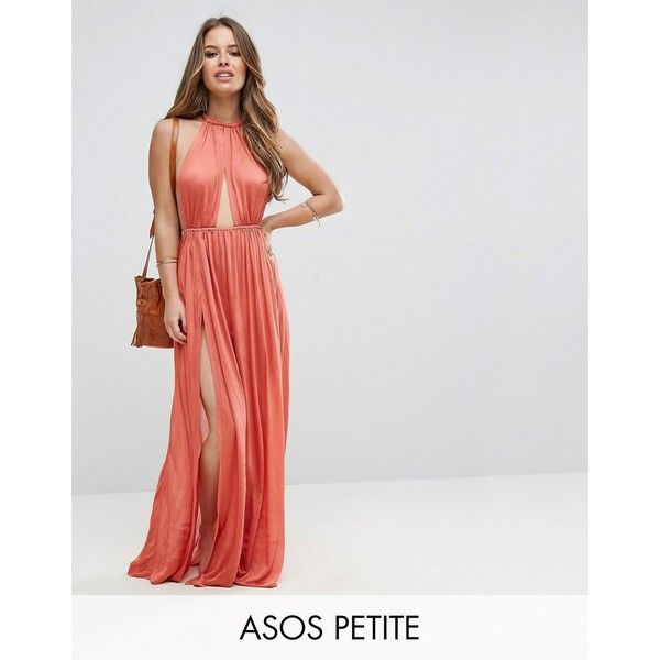 ASOS PETITE Slinky Maxi Beach Dress with Plait Strap ($41) ❤ liked on Polyvore featuring dresses, brown, petite, brown maxi dress, short halter dress, spaghetti-strap maxi dresses, halter neck maxi dress and petite length maxi dresses