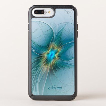 The Beauty Modern Blue Gold Fractal Flower Name Speck iPhone Case - blue gifts style giftidea diy cyo