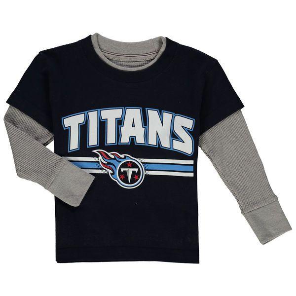 Tennessee Titans Preschool Fan Gear Bleachers Faux Layer Long Sleeve T-Shirt - Navy - $21.99