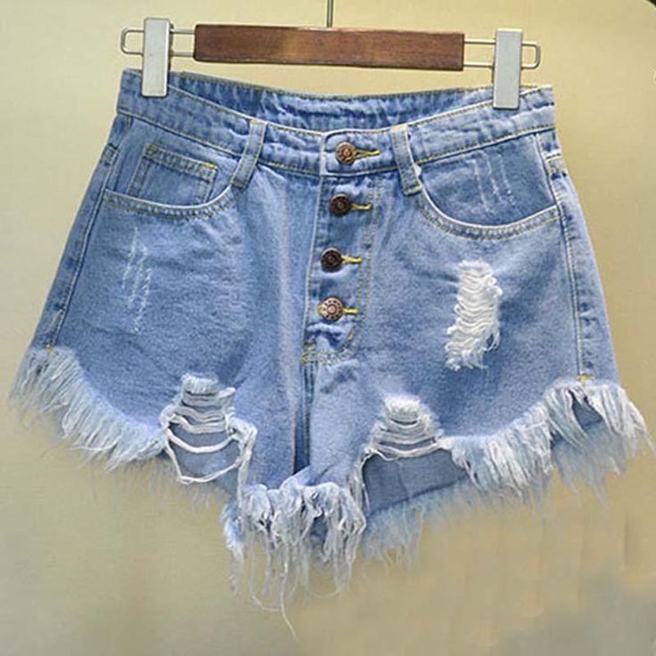 2016 Europei e Americani BF vento d'estate femmina blu a vita alta bicchierini del denim delle donne sciolti foro cranico pantaloncini di jeans plus size