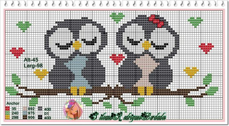 Owl perler bead pattern~ this would be a cute cross stitch for a gift table or guest book table at a wedding!