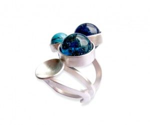 Sterling Silver Ring with blue glass beads