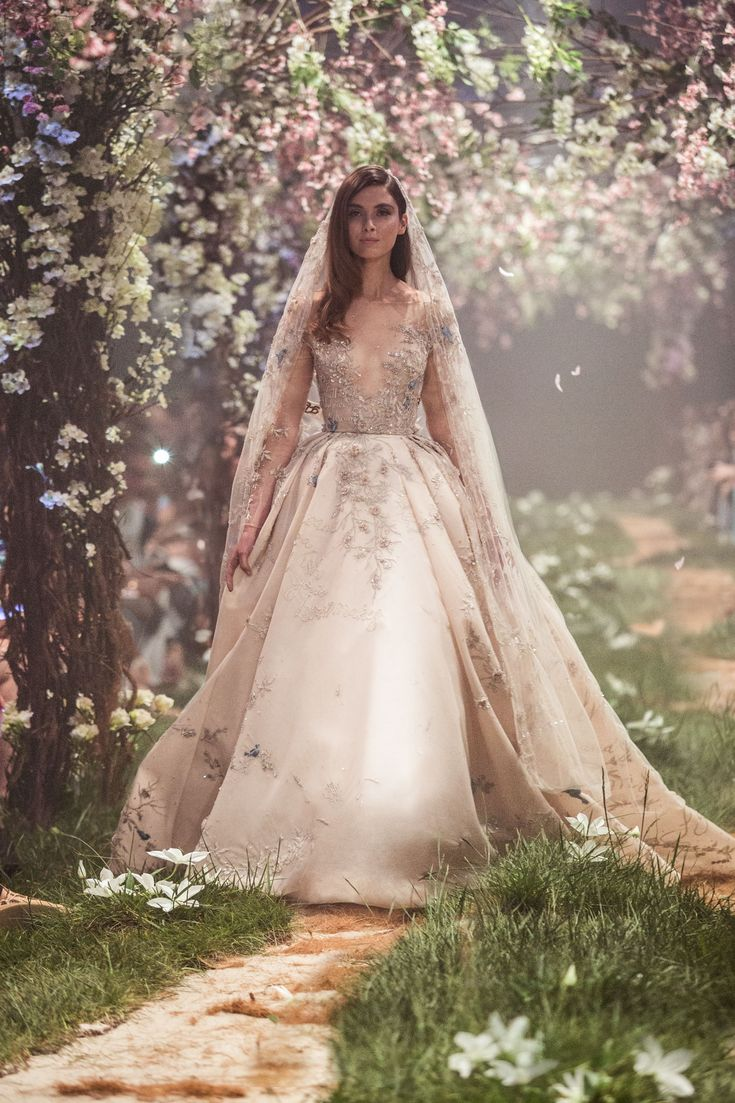 PSSS1834 - Pleated ball gown with floral and bluebird embroidery featuring the lyrics of Cinderella's, 'A Dream is a Wish'. 'Happily Ever After' beaded veil.
