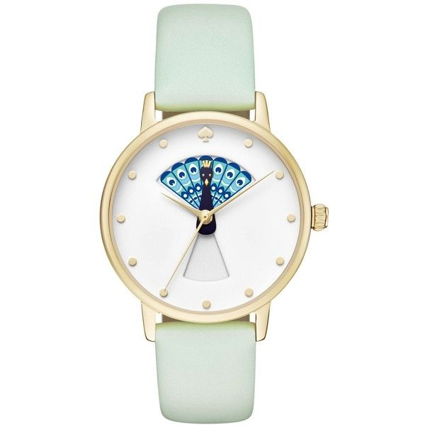 kate spade new york Women's Metro Mint Splash Leather Strap Watch 34mm... ($195) ❤ liked on Polyvore featuring jewelry, watches, mint, kate spade jewelry, white dial watches, mint watches, peacock jewelry and mint jewelry